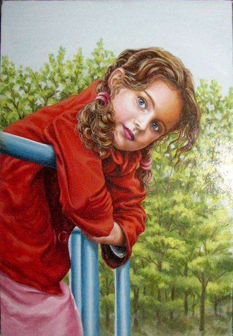 Picturi cu potrete/nuduri Fetita in rosu