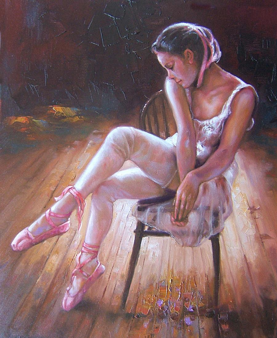 Picturi cu potrete/nuduri emotia unei balerine