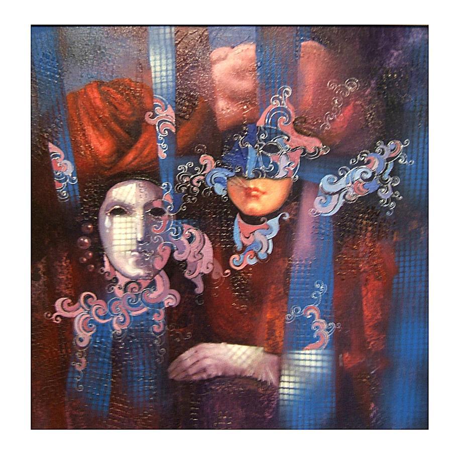 Picturi cu potrete/nuduri masca venetiana 4