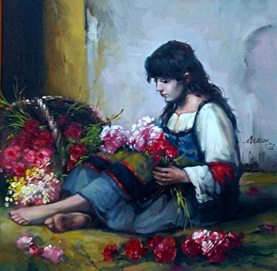 Picturi cu potrete/nuduri tiganca florareasa 3