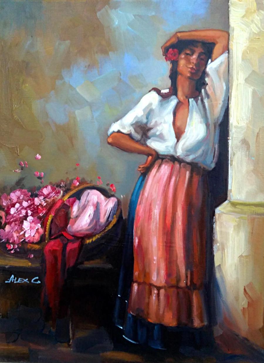 Picturi cu potrete/nuduri tiganca florareasa 5