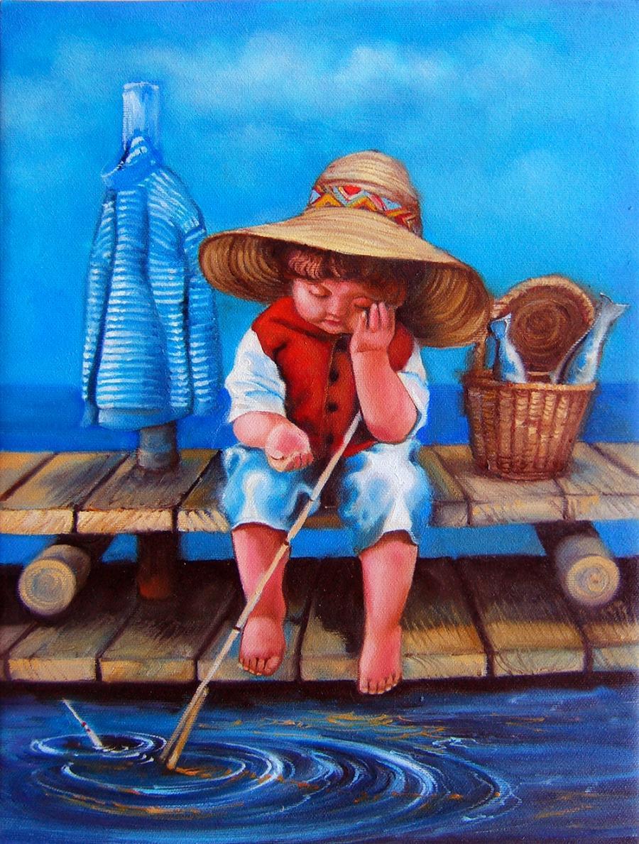 Picturi cu potrete/nuduri micul pescar