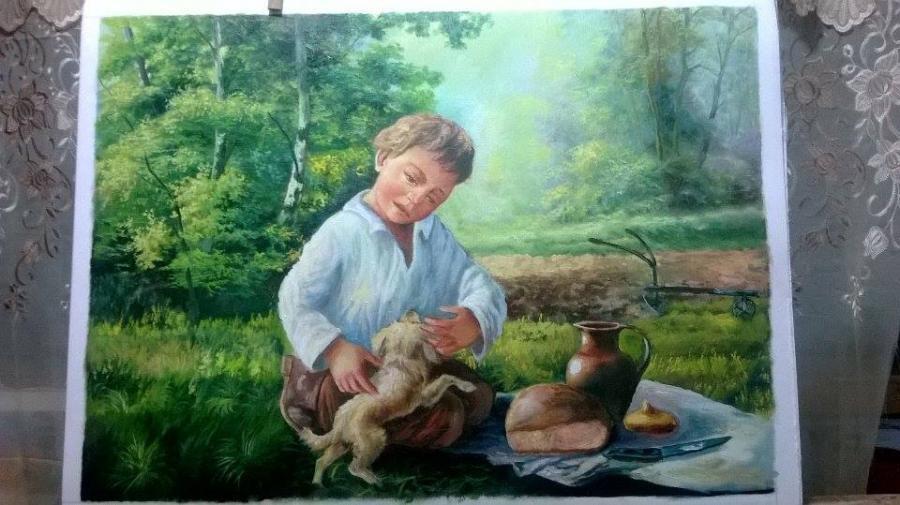Picturi cu potrete/nuduri fiu de taran la camp