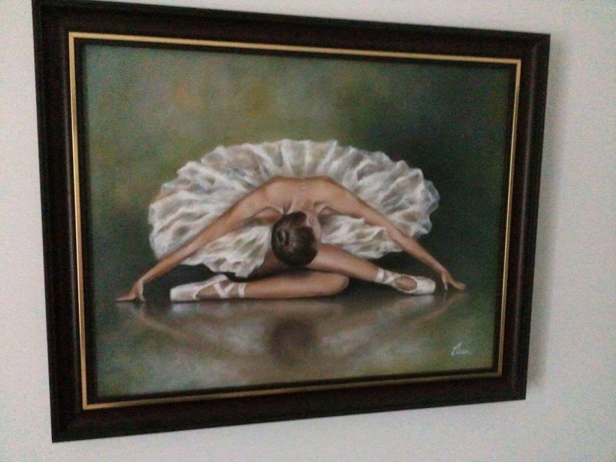 Picturi cu potrete/nuduri Tablou balerina,ulei pe panza,superb
