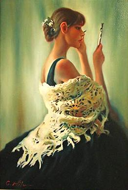 Picturi cu potrete/nuduri BALERINA LA OGLINDA 2