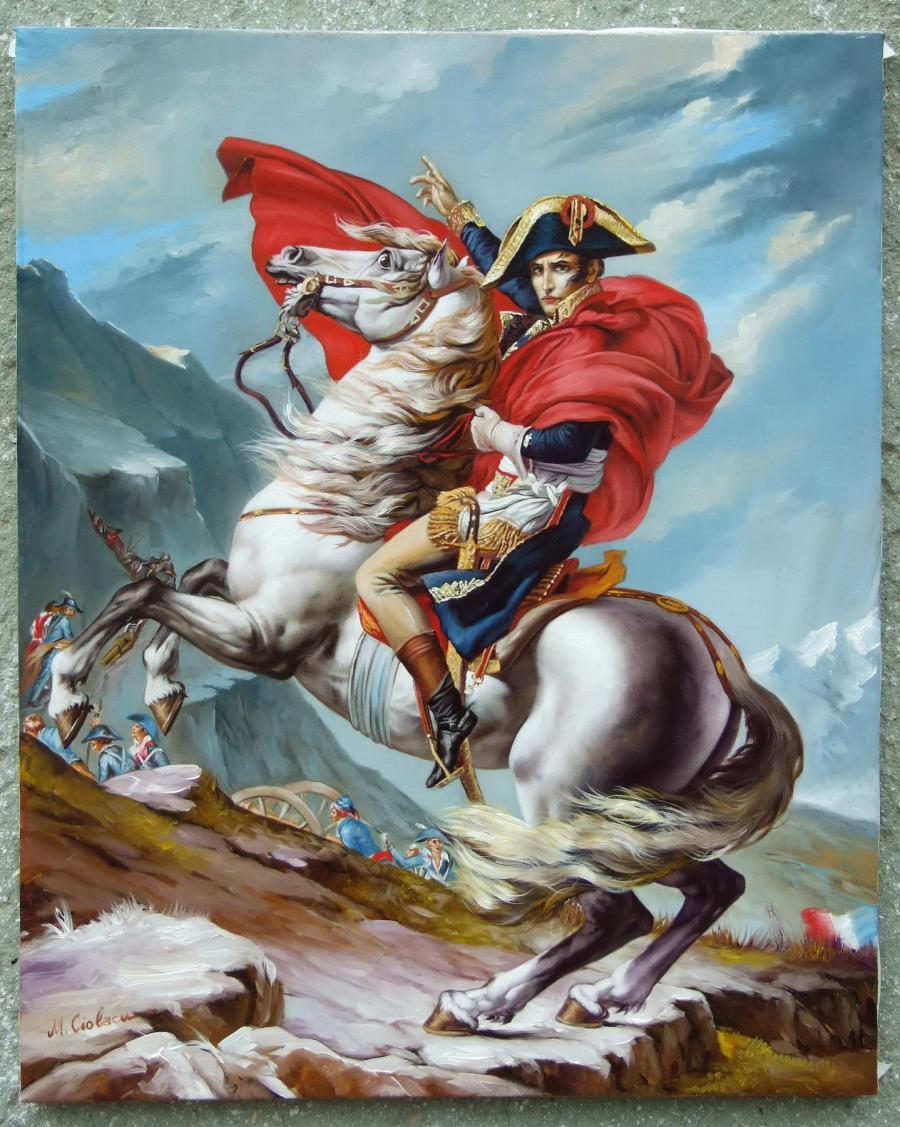 Picturi cu potrete/nuduri Napoleon traversand Alpii