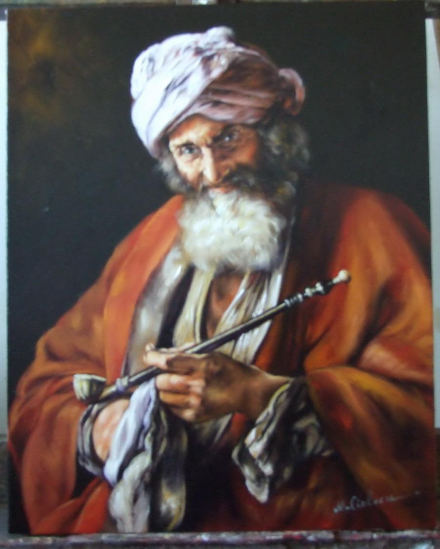Picturi cu potrete/nuduri Omul si pipa lui