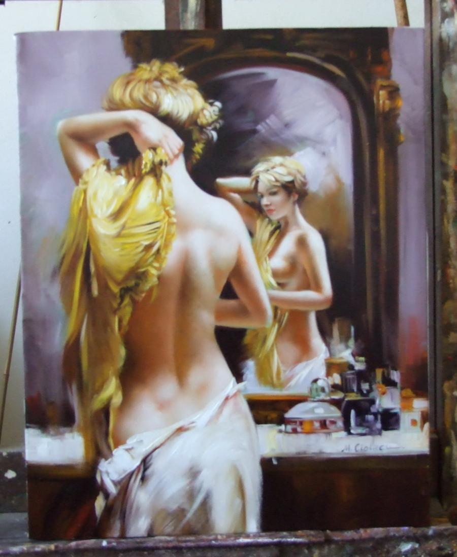 Picturi cu potrete/nuduri Seminud in oglinda 2