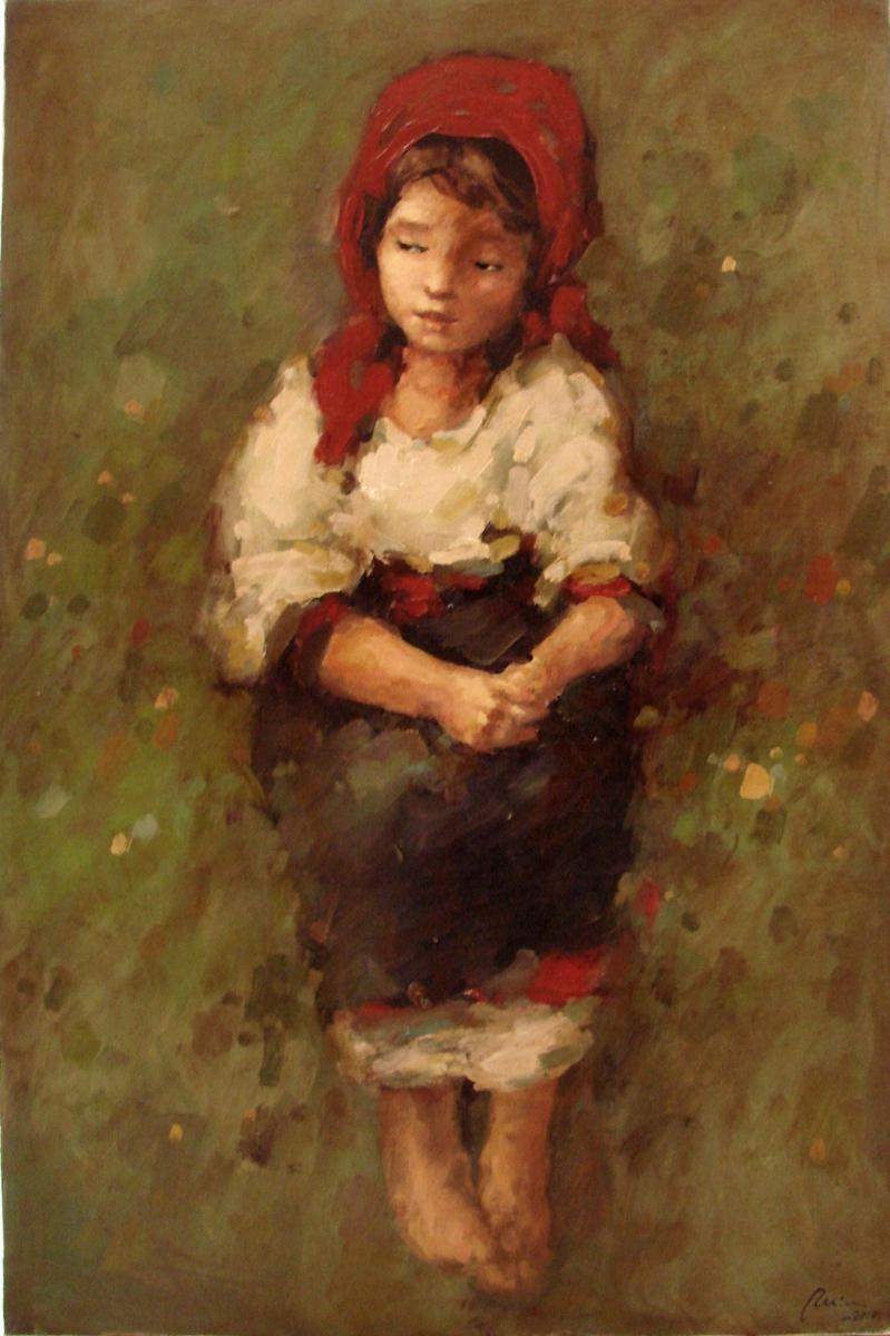Picturi cu potrete/nuduri tarancuta cu basma rosie