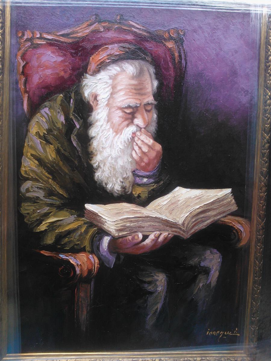 Picturi cu potrete/nuduri mos cu carte
