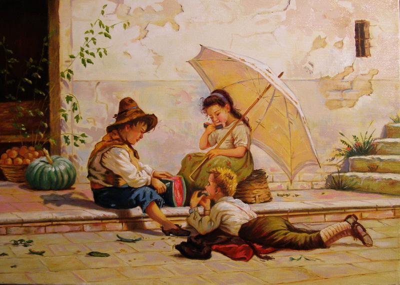 Picturi cu potrete/nuduri copii mancand pepene