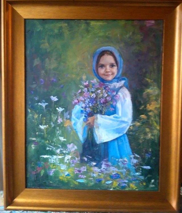 Picturi cu potrete/nuduri La cules de  flori