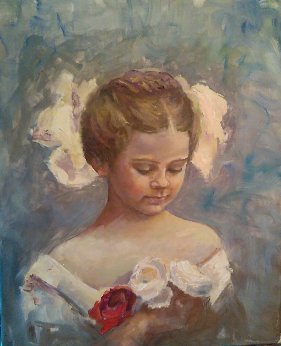 Picturi cu potrete/nuduri O fetiță cu fundiță
