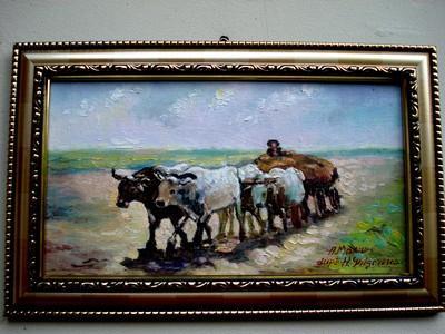 Picturi cu potrete/nuduri Tablou Car cu patru boi