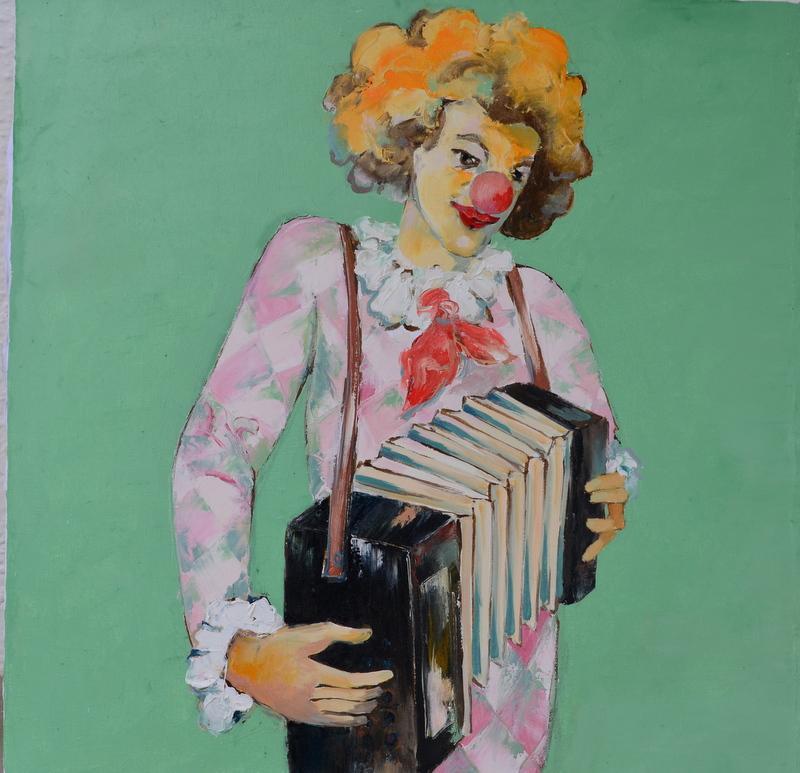Picturi cu potrete/nuduri arlechin cu acordeon