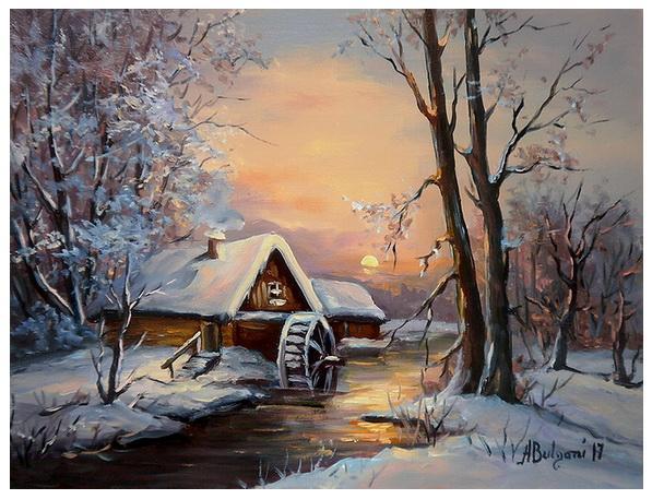 Picturi de iarna IARNA LA MOARA