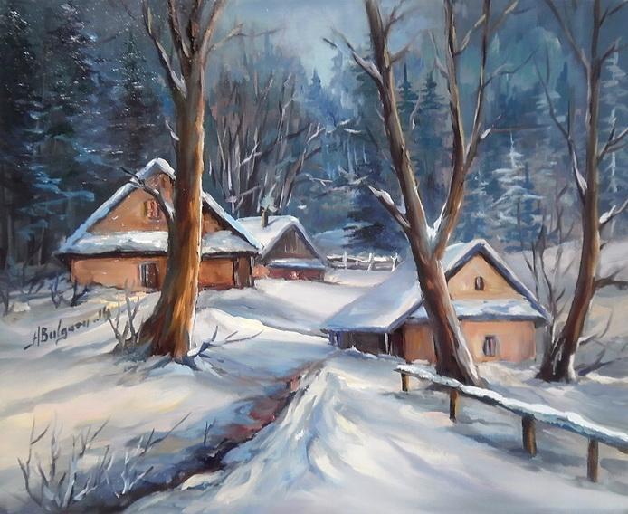 Picturi de iarna IN PADUREA ALBASTRA