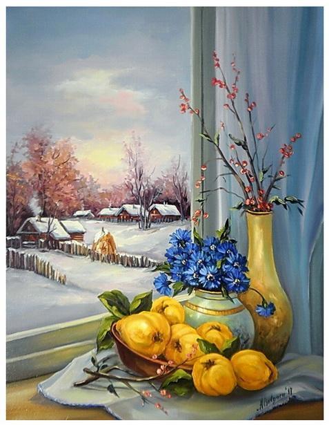 Picturi de iarna LA FEREASTRA IERNII