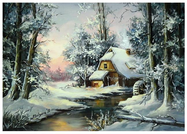 Picturi de iarna MOARA DIN PADUREA IERNII