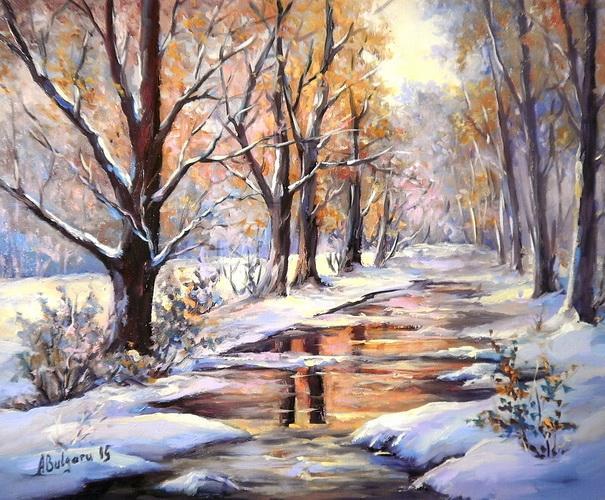 Picturi de iarna PASTEL CU IARNA