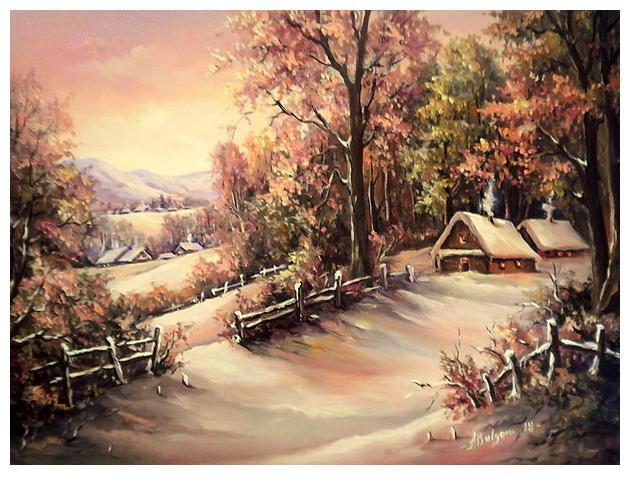 Picturi de iarna SEARA DE BASM