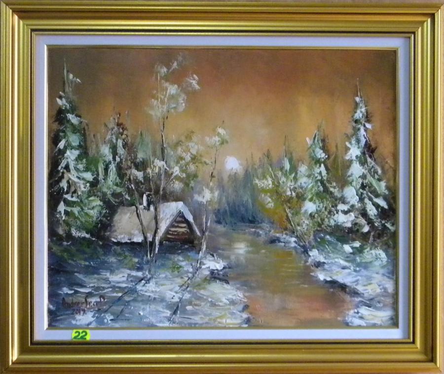 Picturi de iarna NOAPTE DE IARNA CU LUNA2