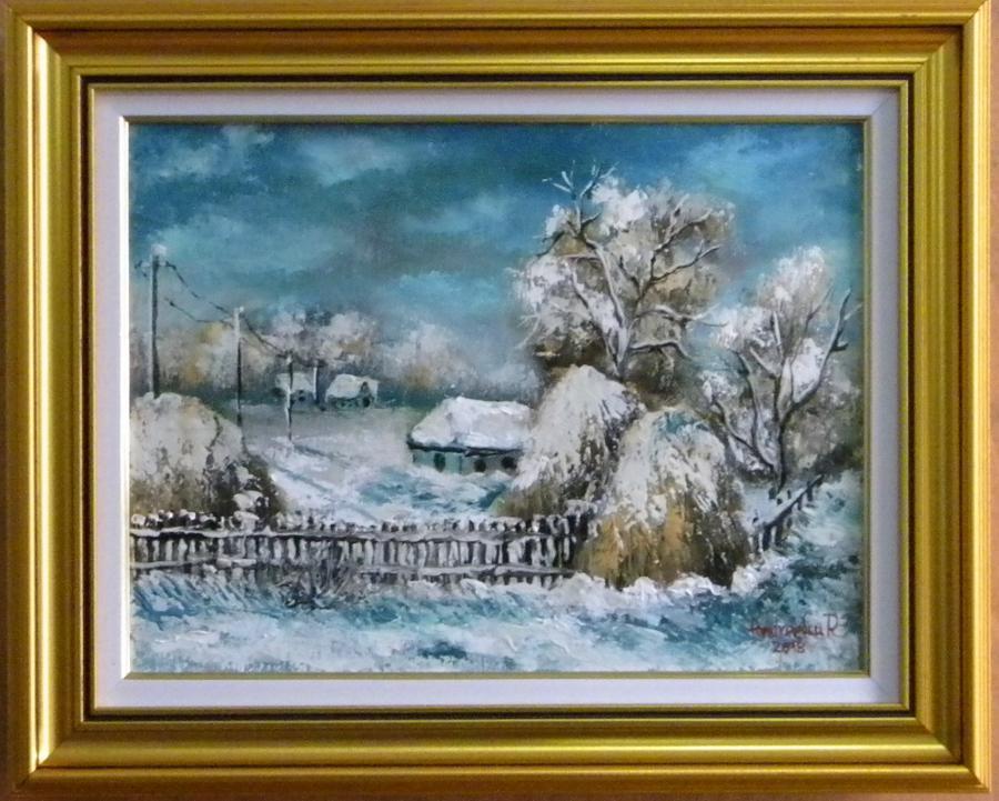 Picturi de iarna PEISAJ DE IARNA GEROASA