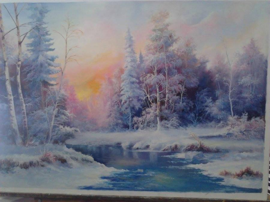Picturi de iarna Asfintit in iarna