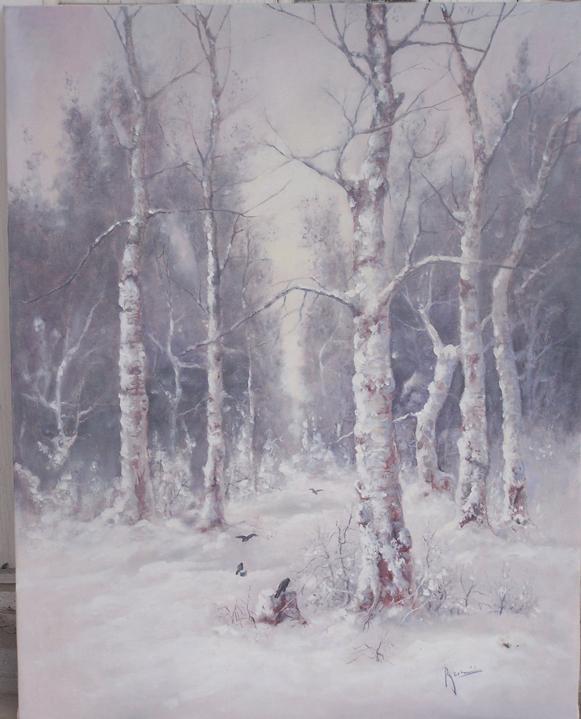 Picturi de iarna Iarna cu mesteceni