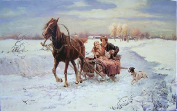 Picturi de iarna Iarna cu sania