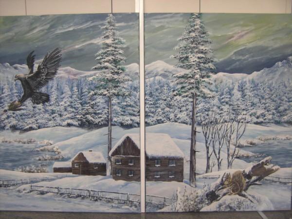 Picturi de iarna La cabana1