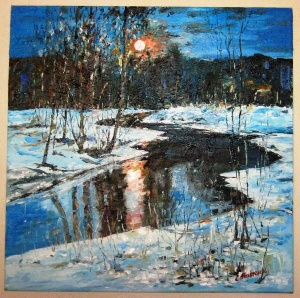 Picturi de iarna Luna peste zapada