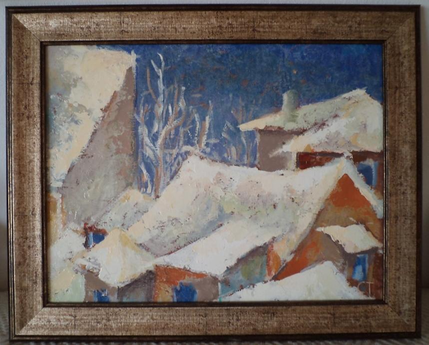 Picturi de iarna Zapada cat casa