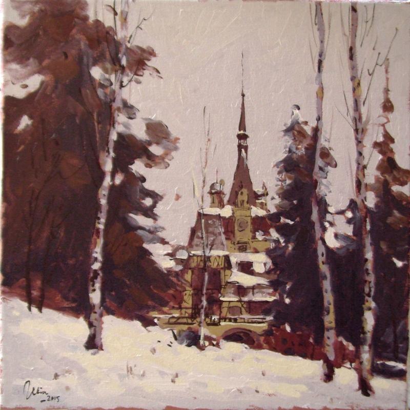 Picturi de iarna castelul peles printre mesteceni