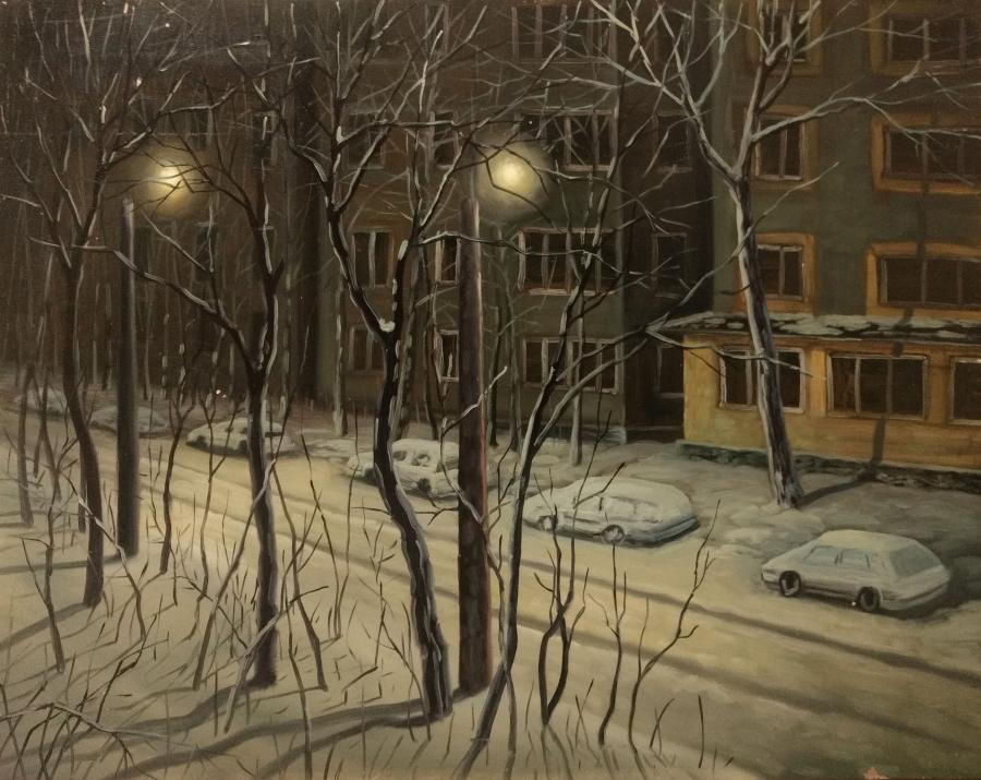 Picturi de iarna Nocturna hibernala, la bloc, 2017