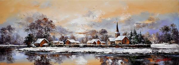 Picturi de iarna Iarna la margine de sat