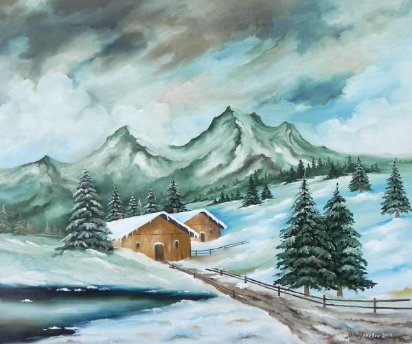 Picturi de iarna Iarna la sat