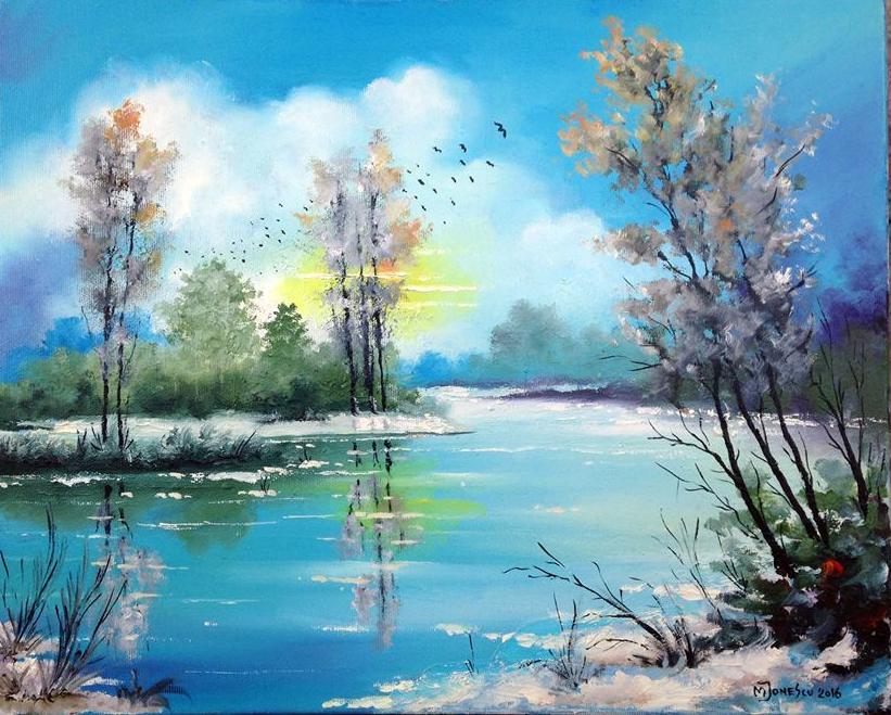 Picturi de iarna iarna pe albastru