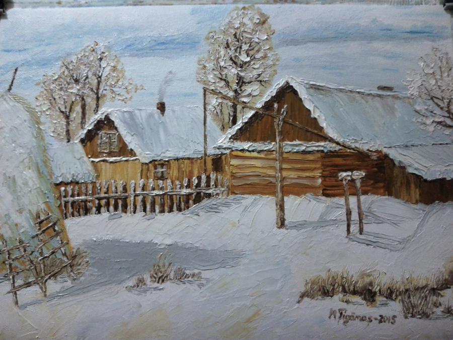 Picturi de iarna Iarna in sat ...