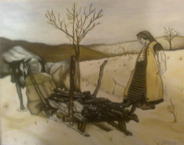Picturi de iarna Iarna la lemne