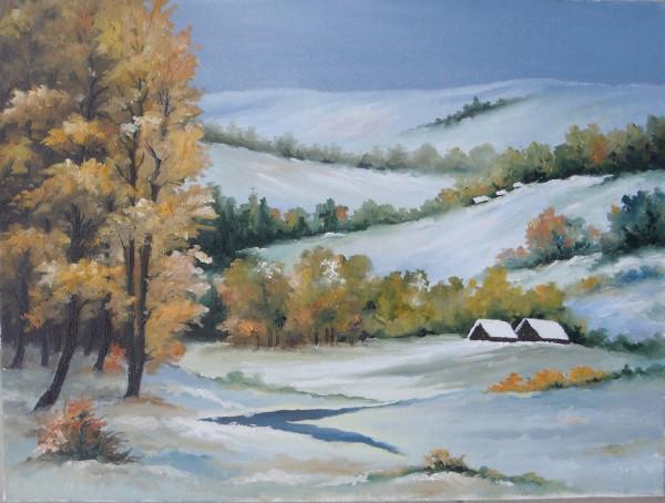 Picturi de iarna Iarna la margine de padure