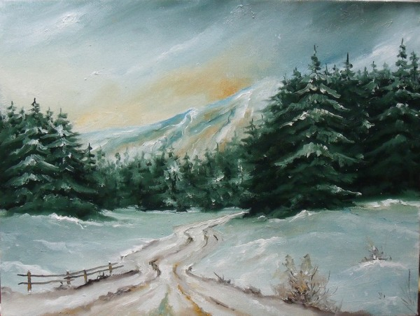 Picturi de iarna Padure de brazi iarna