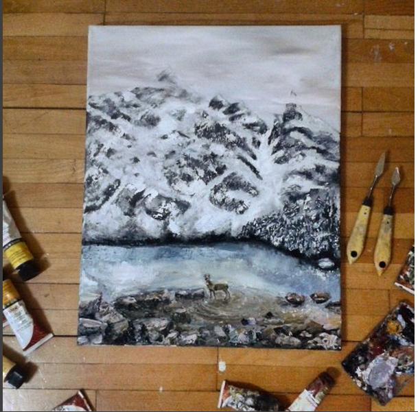 Picturi de iarna cerbul