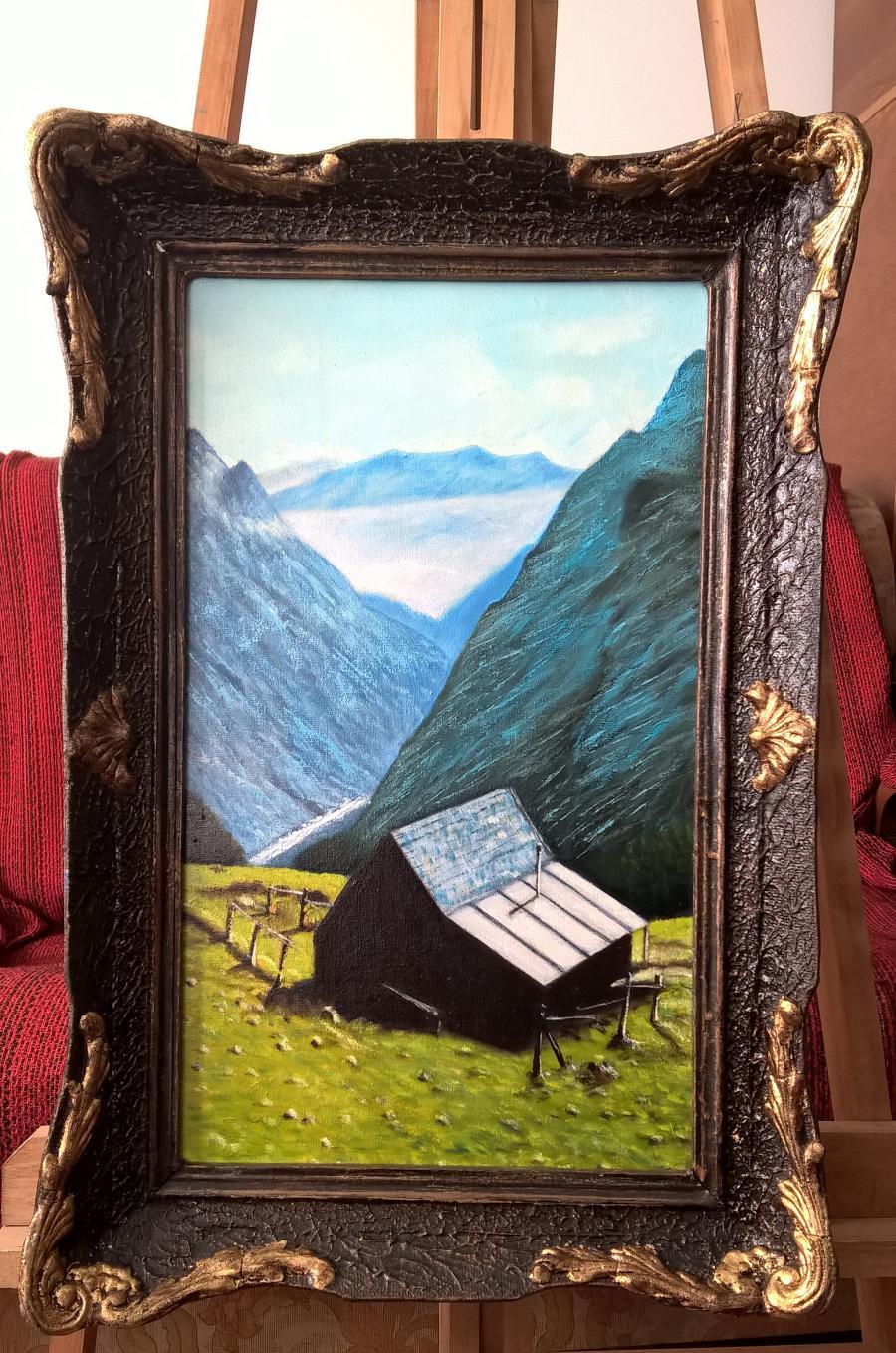 Picturi de iarna cabana in alpi