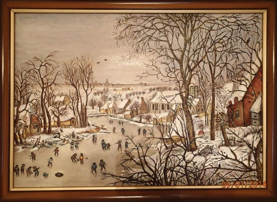 Picturi de iarna Capcana cu pasare