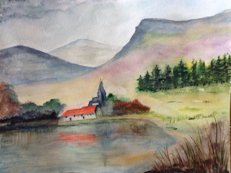 Picturi de primavara Peisaj cu lac