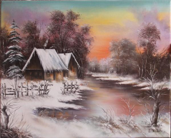 Picturi de iarna Amurg de iarna