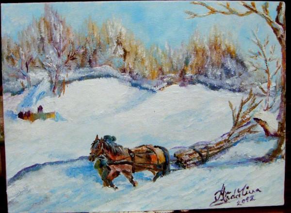 Picturi de iarna Lemne din padure