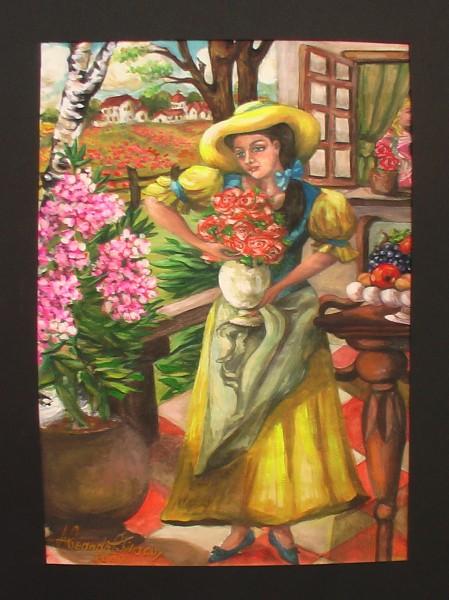 Picturi de primavara Fata pe veranda