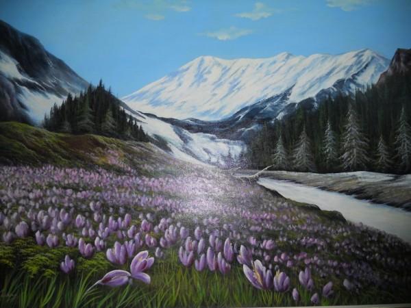 Picturi de primavara Poiana cu branduse